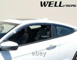 WELLvisors For 16-20 Honda Civic Coupe Chrome Trim Window Visors Rain Deflectors